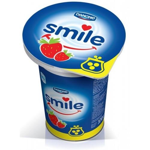 Jogurtas Smile su braškėmis 1% 370 g plast. ind.