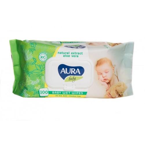 Servetėlės drėgnos kūdikiams Aura Baby,100vnt