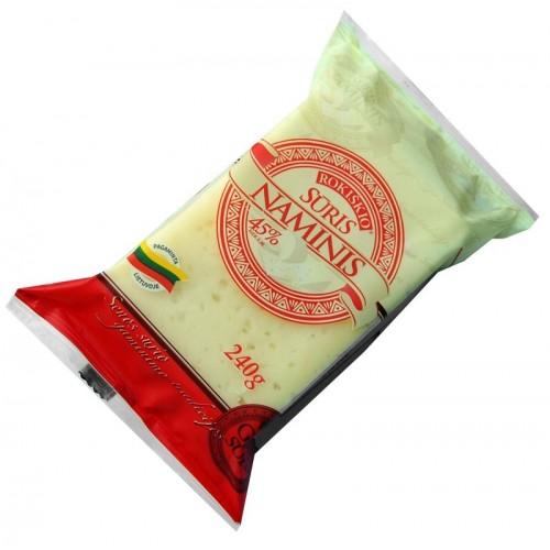Sūris fermentinis Naminis 45%,240g Firminė pakuotė