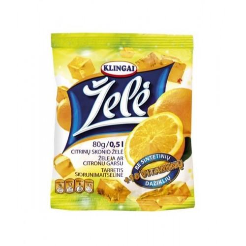 Želė Klingai citrinų 80g (be sintet.daž.,su 10 vitamin.)