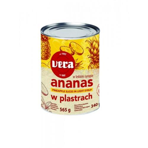 Ananasų griežinėliai konserv.Vera sirupe,565 g