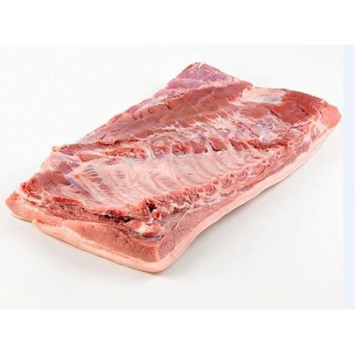 Šoninė kiaulienos iškaulinta su oda be papilvės atšaldyta