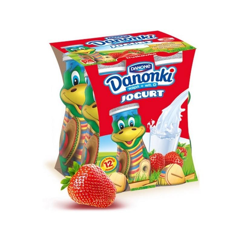 Jogurto gėrimas Danonki braškių sk.,4x100g