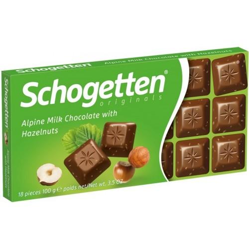 Šokoladas Schogetten su lazdynų riešutais 100g