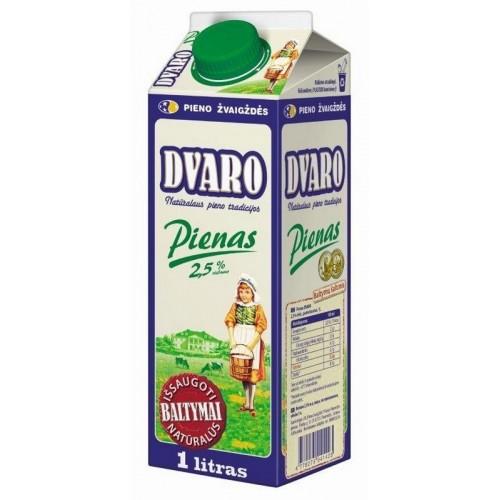 Pienas Dvaro 2,5% rieb.,1l t-rex su kamšt.