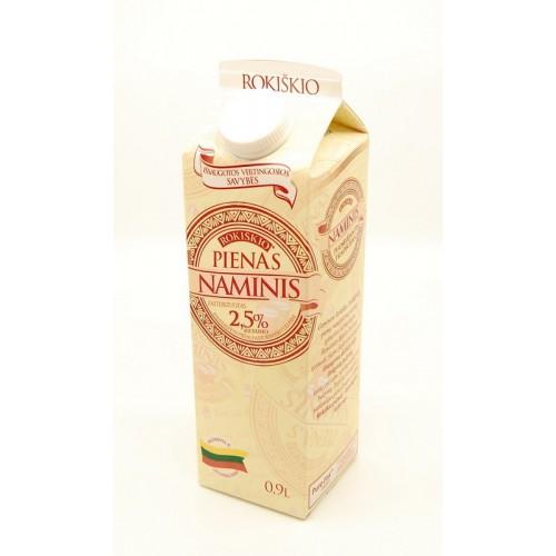 Pienas Rokiškio naminis 2.5% 0.9l elopak