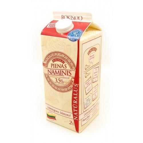 Pienas Rokiškio naminis natūralus 3,5%,2l