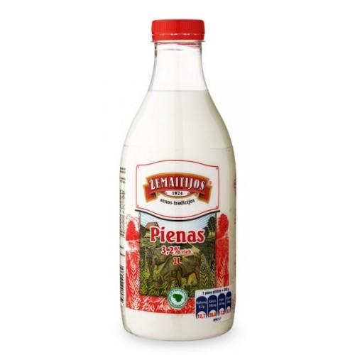 Pienas Žemaitijos 3.2% rieb. 1000 ml plastmasinis butelis