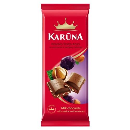 Šokoladas pieninis Karūna su razinomis ir lazdynų riešt.,90g