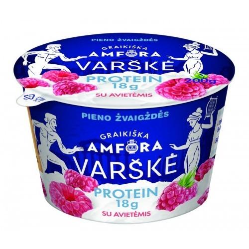 Varškė Graikiška amfora protein 0,8% rieb. su aviet.,200g
