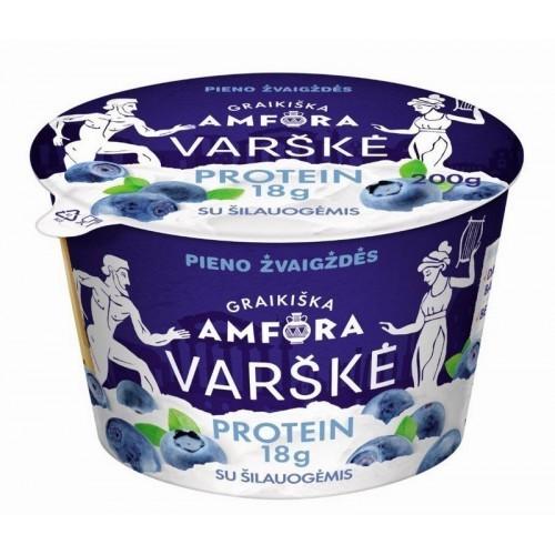 Varškė Graikiška amfora protein 0,8% rieb.su šilauog.,200g
