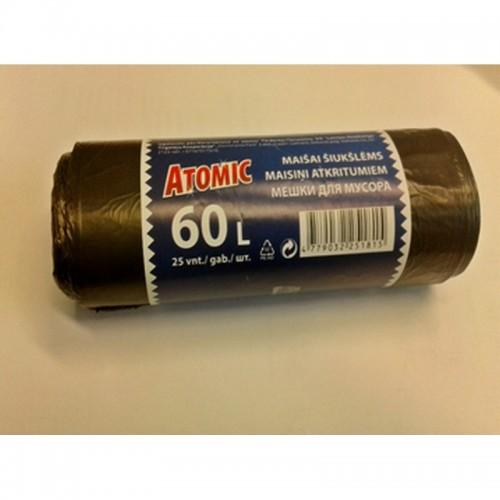 Maišai šiukšlėms Atomic HDPE 60L 25vnt